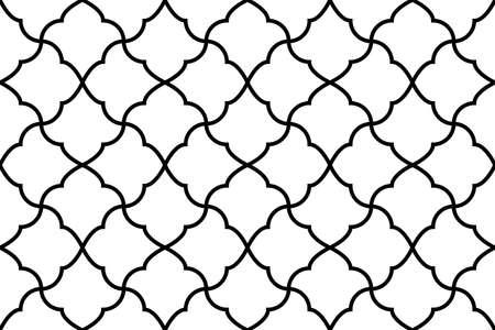 Geometrisches Blumenmuster. Nahtloser Hintergrund. Weiße und schwarze Verzierung. Ornament für Stoff, Tapete, Verpackung. Dekorativer Druck Standard-Bild