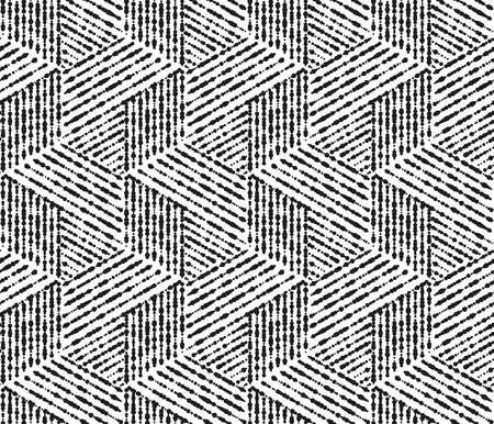 Abstraktes geometrisches Muster mit Streifen, Linien. Nahtloser Hintergrund. Weiße und schwarze Verzierung. Einfaches Gittergrafikdesign