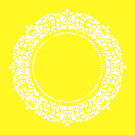 Decorative frame Elegant element for design in Eastern style, place for text. Floral yellow border. Lace illustration for invitations and greeting cards