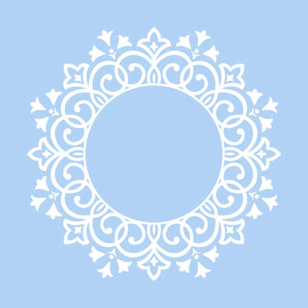 Cornice decorativa Elegante elemento vettoriale per il design in stile orientale, luogo per il testo. Bordo blu floreale. Illustrazione di pizzo per inviti e biglietti di auguri