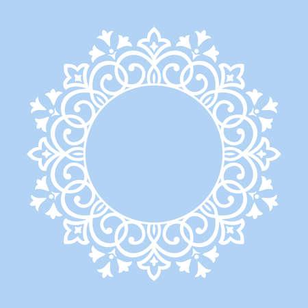 Marco decorativo Elemento de vector elegante para diseño en estilo oriental, lugar para el texto. Borde azul floral. Ilustración de encaje para invitaciones y tarjetas de felicitación.