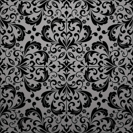 Wallpaper in the style of Baroque. Seamless background.Black floral ornament. Graphic pattern for fabric, wallpaper, packaging. Ornate Damask flower ornament