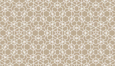 The geometric pattern with lines. Seamless background. White and beige texture. Graphic modern pattern. Simple lattice graphic design