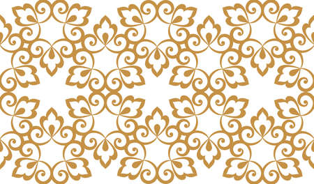 Wallpaper in the style of Baroque. Seamless background. White and gold floral ornament. Graphic pattern for fabric, wallpaper, packaging. Ornate Damask flower ornament Zdjęcie Seryjne
