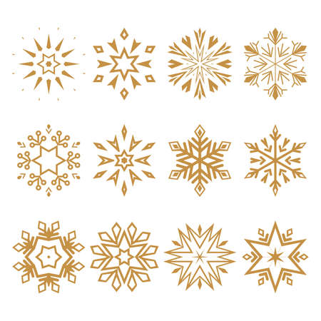 Snowflakes icon collection. Graphic modern gold ornament Zdjęcie Seryjne