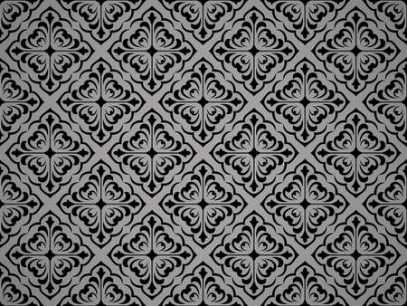 Wallpaper in the style of Baroque. Seamless vector background. Black floral ornament. Graphic pattern for fabric, wallpaper, packaging. Ornate Damask flower ornament Ilustracja