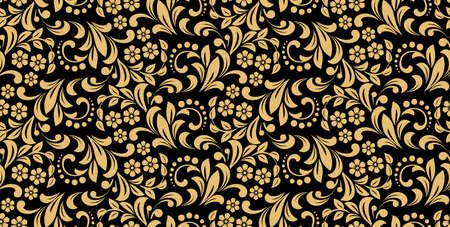 Flower pattern. Seamless gold and black ornament. Graphic vector background. Ornament for fabric, wallpaper, packaging Illustration