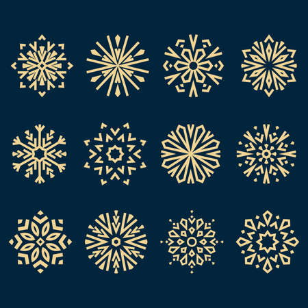 Snowflakes icon collection. Graphic modern blue and gold ornament