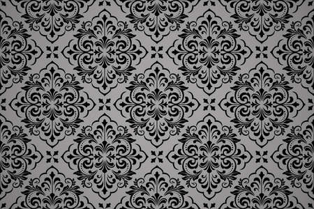 Wallpaper in the style of Baroque. Seamless vector background. Black floral ornament. Graphic pattern for fabric, wallpaper, packaging. Ornate Damask flower ornament