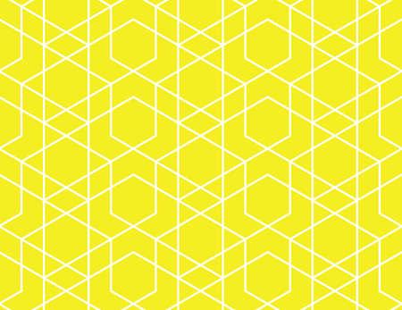 Abstraktes geometrisches Muster. Ein nahtloser Vektorhintergrund. Weiße und gelbe Verzierung. Grafisches modernes Muster. Einfaches Gittergrafikdesign