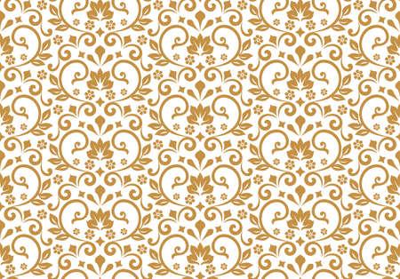 Tapete im Stil des Barock. Nahtloser Hintergrund. Weiße und goldene Blumenverzierung. Grafisches Muster für Stoff, Tapete, Verpackung. Verzierter Damast-Blumenschmuck