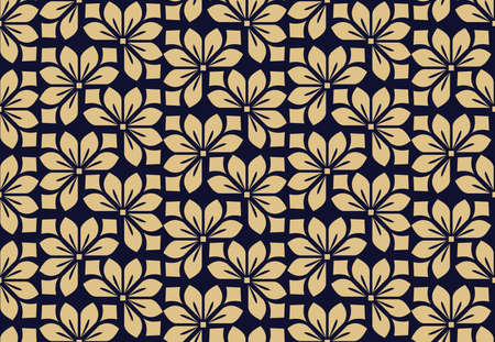 Flower geometric pattern. Seamless background. Dark blue and gold ornament. Ornament for fabric, wallpaper, packaging. Decorative print 写真素材