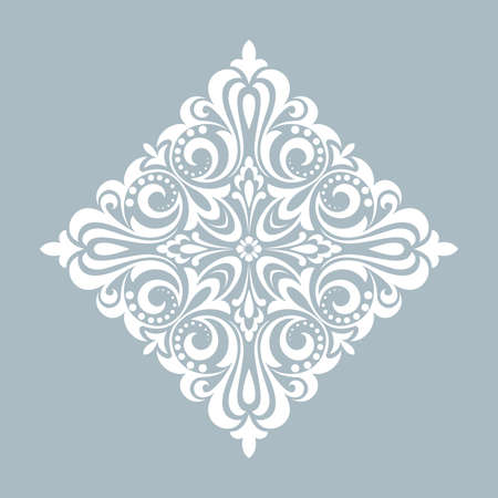 Damask graphic ornament. Floral design element. Bllue pattern