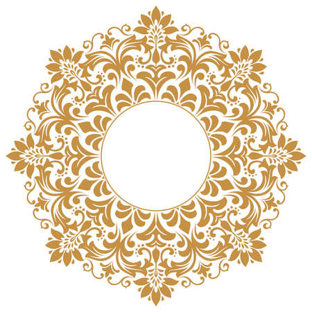 Decorative frame Elegant element for design in Eastern style, place for text. Floral golden border. Lace illustration for invitations and greeting cards.