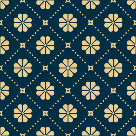 Flower geometric pattern. Seamless background. Dark blue and gold ornament. Ornament for fabric, wallpaper, packaging. Decorative print Stock fotó