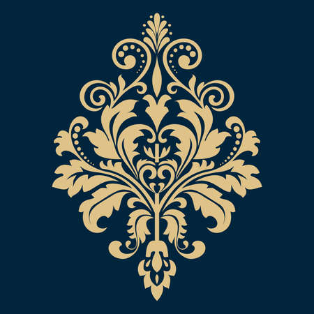 Damask graphic ornament. Floral design element. Blue and gold pattern