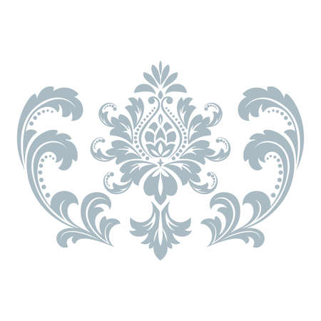 Damask graphic ornament. Floral design element. Blue pattern