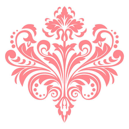 Damask graphic ornament. Floral design element. Pink pattern 스톡 콘텐츠
