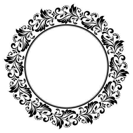 Cornice decorativa Elegante elemento di design in stile orientale, luogo per il testo. Bordo nero floreale. Illustrazione di pizzo per inviti e biglietti di auguri