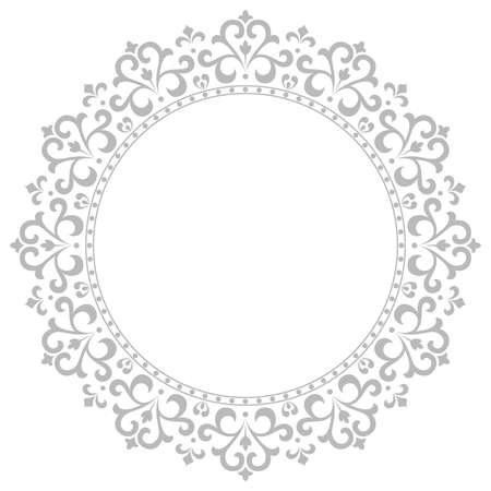 Decorative frame Elegant vector element for design in Eastern style, place for text. Floral grey border. Lace illustration for invitations and greeting cards 일러스트