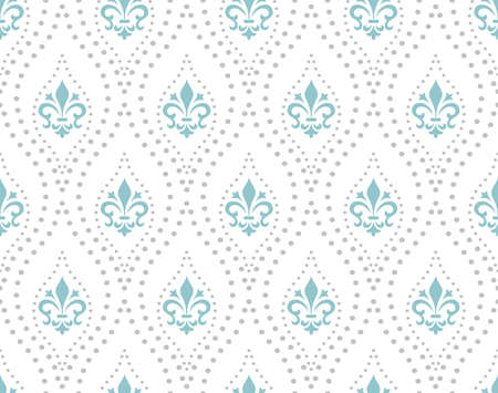 Wallpaper in the style of Baroque. Seamless vector background. Blue and grey floral ornament. Graphic pattern for fabric, wallpaper, packaging. Ornate Damask flower ornament