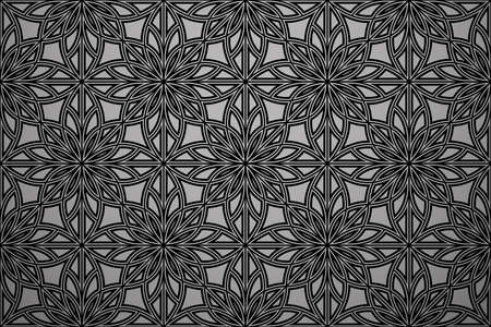 Flower geometric pattern. Seamless vector background. Black and grey ornament. Ornament for fabric, wallpaper, packaging. Decorative print Ilustracja