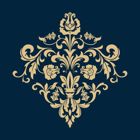 Damask graphic ornament. Floral design element. Dark blue and gold pattern