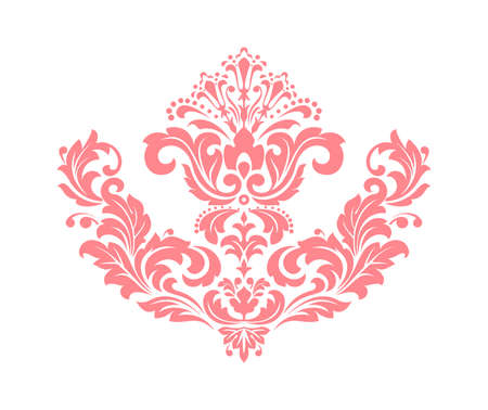 Damask graphic ornament. Floral design element. Pink vector pattern Çizim