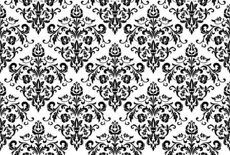 Wallpaper in the style of Baroque. Seamless background. White and black floral ornament. Graphic pattern for fabric, wallpaper, packaging. Ornate Damask flower ornament Stok Fotoğraf