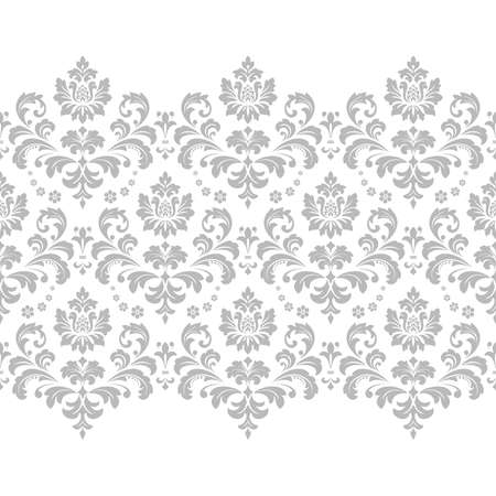Floral pattern. Vintage wallpaper in the Baroque style. Modern background. White and grey ornament for fabric, wallpaper, packaging. Ornate Damask flower ornament Stok Fotoğraf