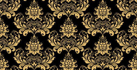 Floral pattern. Vintage wallpaper in the Baroque style. Seamless background. Gold and black ornament for fabric, wallpaper, packaging. Ornate Damask flower ornament