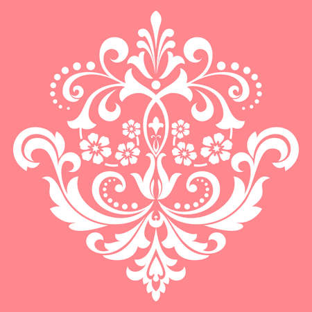 Damask graphic ornament. Floral design element. Pink pattern Stok Fotoğraf
