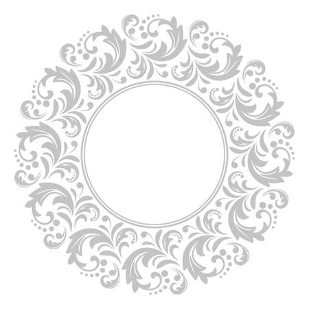 Decorative frame Elegant vector element for design in Eastern style, place for text. Floral grey border. Lace illustration for invitations and greeting cards Banque d'images - 129318511