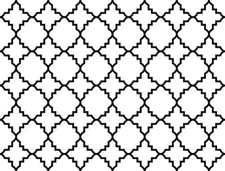 Abstract geometry pattern in Arabian style. Seamless vector background. White and black graphic ornament. Simple lattice graphic design 일러스트