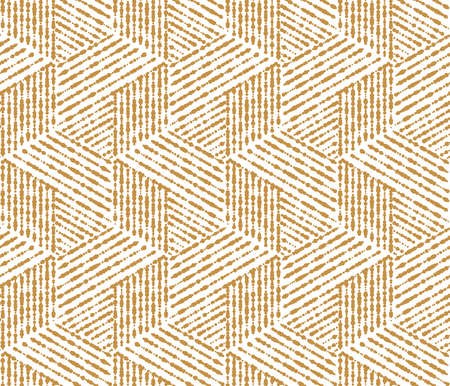 Abstract geometric pattern with stripes, lines. Seamless vector background. White and gold ornament. Simple lattice graphic design