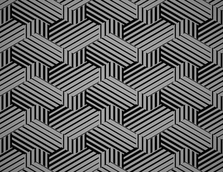 Abstract geometric pattern with stripes, lines. Seamless vector background. Black and grey ornament. Simple lattice graphic design  イラスト・ベクター素材