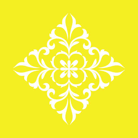 Damask graphic ornament. Floral design element. Yellow vector pattern Çizim