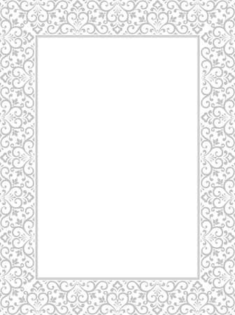 Decorative frame Elegant vector element for design in Eastern style, place for text. Floral grey border. Lace illustration for invitations and greeting cards Archivio Fotografico - 129490286
