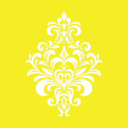 Damask graphic ornament. Floral design element. Yellow vector pattern Foto de archivo - 129906608