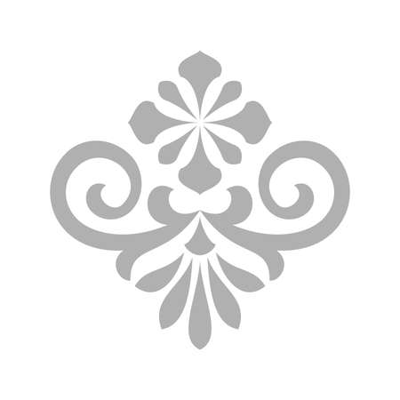 Damask graphic ornament. Floral design element. Grey vector pattern Foto de archivo - 129906613