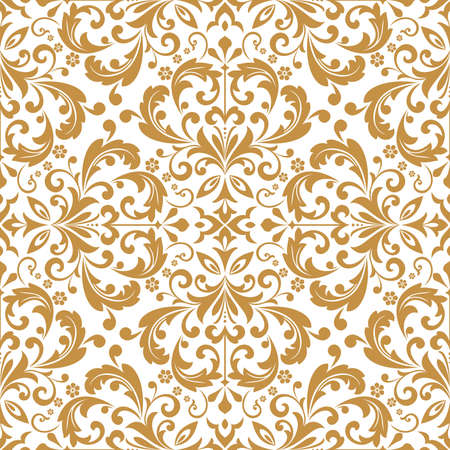 Wallpaper in the style of Baroque. Seamless vector background. White and gold floral ornament. Graphic pattern for fabric, wallpaper, packaging. Ornate Damask flower ornament Иллюстрация
