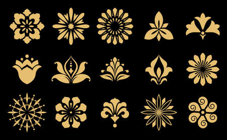 Vector floral set. Spring or summer design for invitation, wedding or greeting cards. Design elements in graphic style. Gold and black ornament