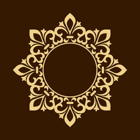 Decorative frame Elegant vector element for design in Eastern style, place for text. Floral golden border. Lace illustration for invitations and greeting cards. Foto de archivo - 129906621