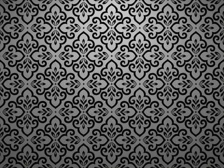 Wallpaper in the style of Baroque. Seamless vector background. Black and grey floral ornament. Graphic pattern for fabric, wallpaper, packaging. Ornate Damask flower ornament