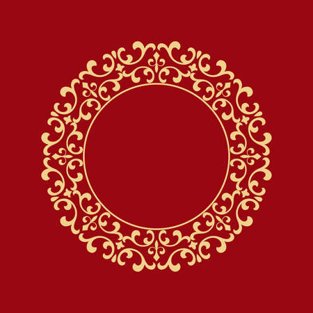 Decorative frame Elegant vector element for design in Eastern style, place for text. Floral golden border. Lace illustration for invitations and greeting cards. Foto de archivo - 129906625