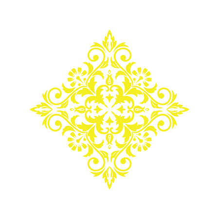 Damask graphic ornament. Floral design element. Yellow vector pattern Фото со стока - 130110430