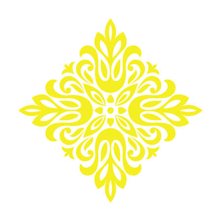 Damask graphic ornament. Floral design element. Yellow vector pattern Фото со стока - 130110433