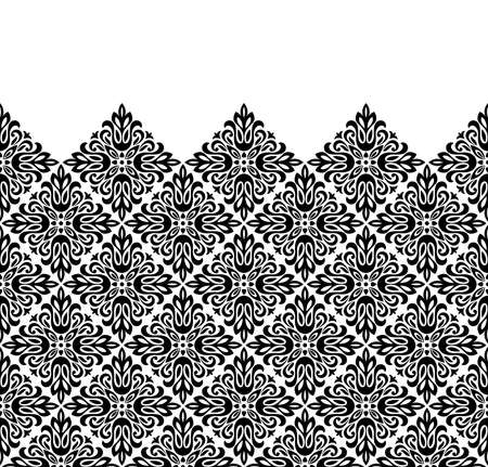 Wallpaper in the style of Baroque. Modern vector background. White and black floral ornament. Graphic pattern for fabric, wallpaper, packaging. Ornate Damask flower ornament  イラスト・ベクター素材