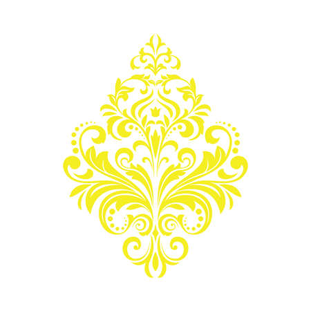 Damask graphic ornament. Floral design element. Yellow vector pattern Фото со стока - 130110499