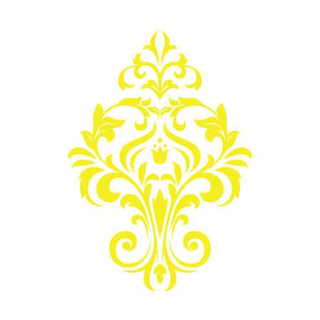 Damask graphic ornament. Floral design element. Yellow vector pattern Иллюстрация